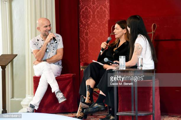 Speakers Marc Quinn Yana Peel and Victoria Sin during Anya Hindmarch Chubby Cloud London Fashion Week at Banqueting House on September 16 2018 in...