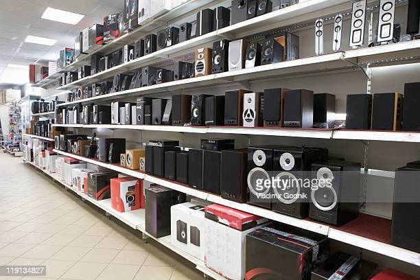 Speakers on display in an electronics store