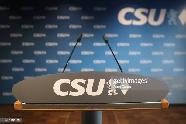 A speaker's podium stands at the headquarters of the Christian Social Union prior to a scheduled press conference to take place after a meeting of...