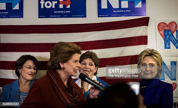 NASHUA NH Speaking and meeting campaign volunteers former Secretary of State Hillary Clinton accompanied by fellow female lawmakers Senators Amy...