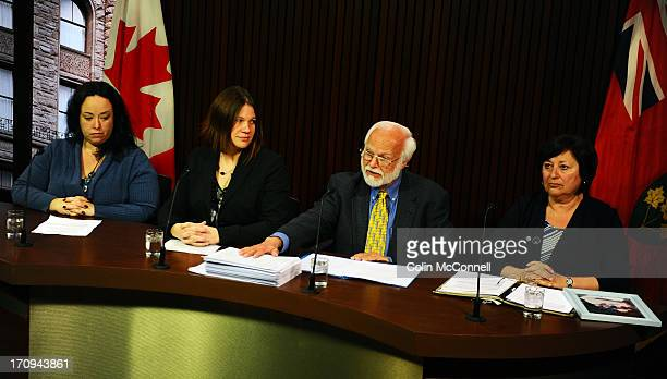 Speaking at presser is l to r Miranda FerrierJennifer BurgessBob Gadsby wih his hand on the petition and Helen BenoitFamily and friends of the 75000...