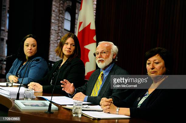 speaking at presser l to r Miranda FerrierJennifer BurgessBob Gadsby and Helen BenoitFamily and friends of the 75000 residents in long term care...