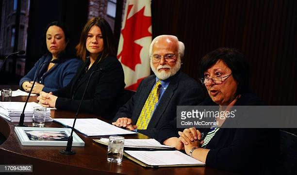 Speaking at the presser l to r Miranda FerrierJennifer BurgessBob Gadsb and Helen BenoitFamily and friends of the 75000 residents in long term care...