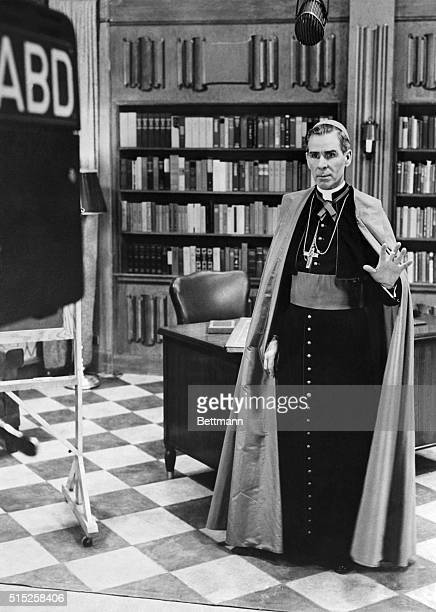 Speaking in precise never stagey tones Bishop Sheen discusses a variety of subjects His only prop is a blackboard on which he draws simple diagrams...