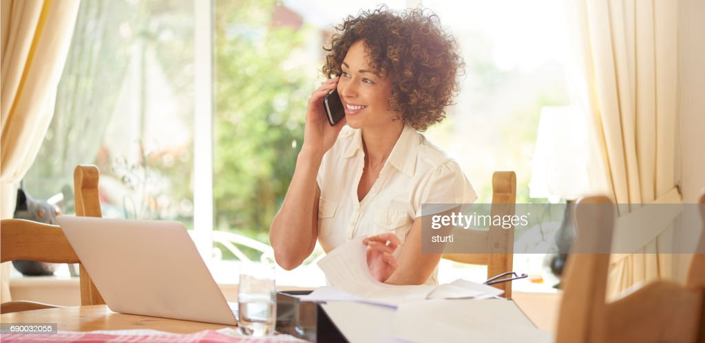 speaking to a happy customer : Stock Photo