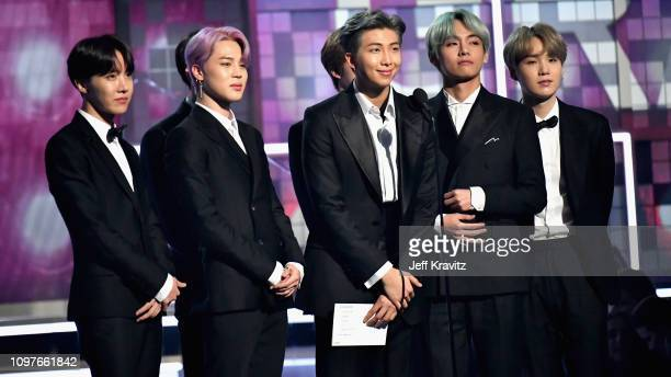 BTS speaks onstage during the 61st Annual GRAMMY Awards at Staples Center on February 10 2019 in Los Angeles California