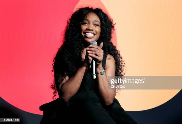 SZA speaks onstage during the celebration of Mastercard's Start Something Priceless Campaign at the launch of the Mastercard House on January 22 2018...