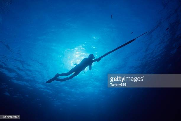 Spear Fisherman in Blue Water