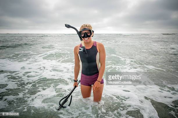 Spearfishing Women Standing In The Ocean