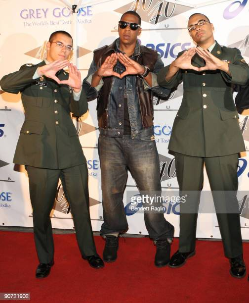 Spec Tony Sdeglik JayZ and PFC Gregory Williams attend the 2009 MTV Video Music Awards after party at 40 / 40 Club on September 13 2009 in New York...