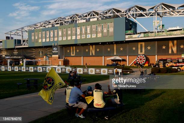 Specators wait outside Subaru Park before the semifinal second leg match of the CONCACAF Champions League 2021 at Subaru Park on September 15, 2021...