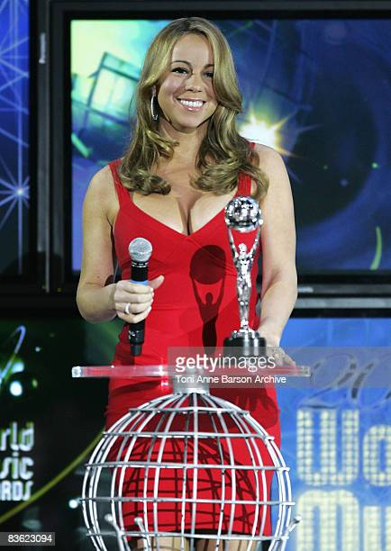 Special Achievement Award winner Mariah Carey talks at the World Music Awards 2008 at the Monte Carlo Sporting Club on November 9, 2008 in Monte...