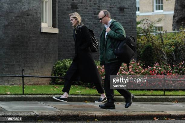 Special Adviser Cleo Watson walks alongside Dominic Cummings Chief Adviser to Prime Minister Boris Johnson on Downing Street in London England on...