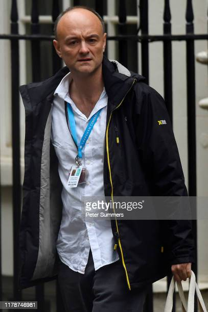 Special Advisor Dominic Cummings leaves 10 Downing Street leaves with British Prime Minister Boris Johnson on October 3 2019 in London England...