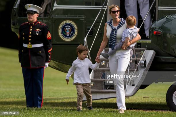 Special Advisor Ivanka Trump with her children Joseph and Theodore 1 exit Marine One on the South Lawn August 27 2017 in Washington DC Trump is...