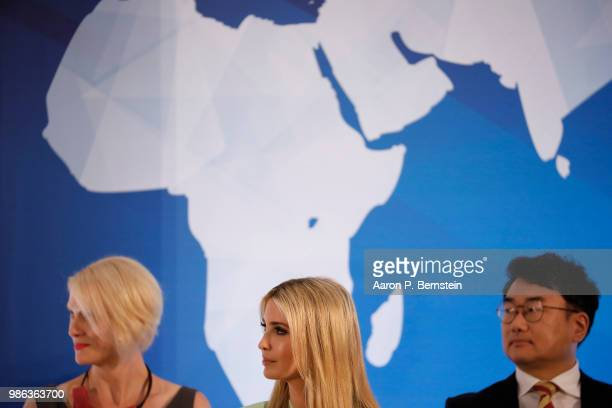 Special Advisor to the President Ivanka Trump looks on during an event marking the release of the Trafficking in Persons report at the State...