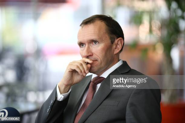 Special Advisor to the UN SecretaryGeneral on Cyprus Espen Barth Eide speaks during an exclusive interview with Anadolu Agency in Ankara Turkey on...
