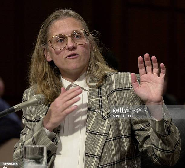 Special Agent Colleen Rowley testifies in the Senate Judiciary Committee room 6 June 2002 on Capitol Hill in Washington DC during a hearing on the...