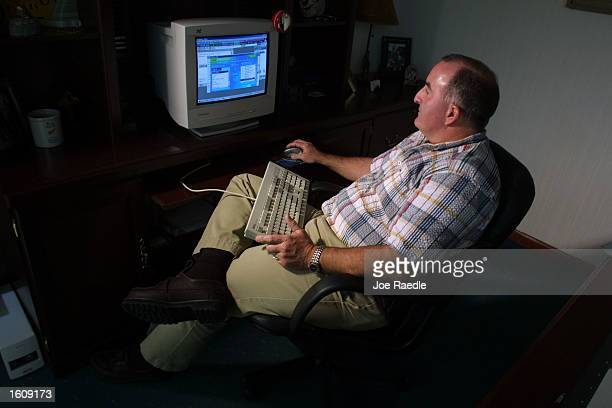 Special Agent Don Condon from the Florida Department of Law Enforcement uses an AOL account on his computer August 14 2001 to bring online pedophiles...