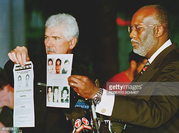 Special Agent for the Federal Bureau of Investigations, FBI Paul Philips and Miami Police Department Chief Richard Barreto show the media FBI fliers...