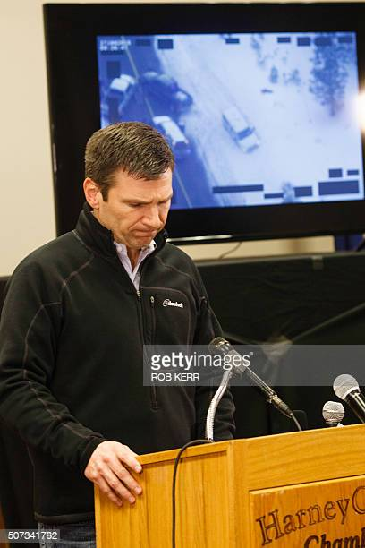 FBI special agent Greg Bretzing addresses the public at the Harney County Chamber of Commerce meeting in Burns Oregon on January 28 2016 Behind him...