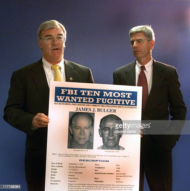 Special Agent in Charge Barry Mawn & US Attorney General Donald Stern hold a press conference naming Whitey Bulger to the FBI's Most Wanted List.