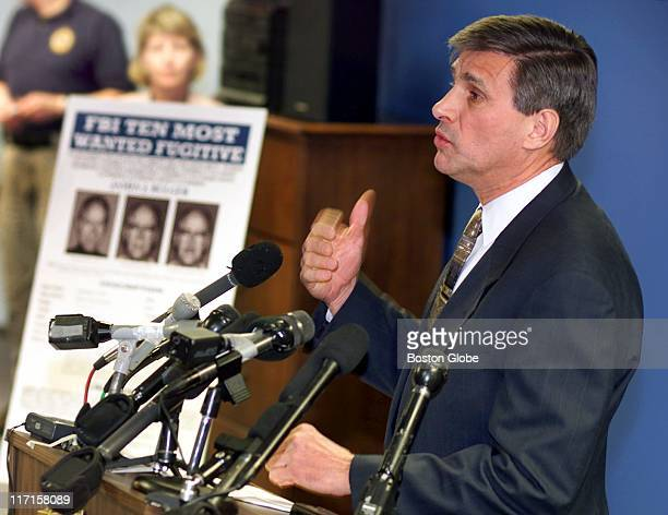 Special Agent in Charge Charles S Prouty announces a $1 million reward for information leading to the arrest of James J Whitey Bulger at a press...
