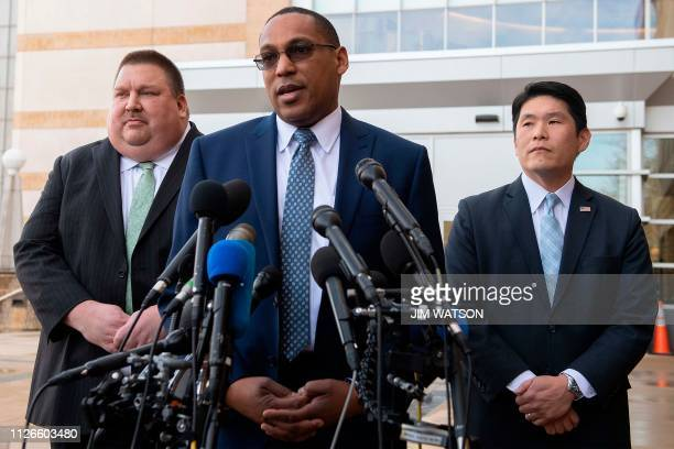 FBI Special Agent In Charge of the Baltimore Field Office Gordon Johnson speaks with US Attorney for Maryland Robert Hur and US Coast Guard...