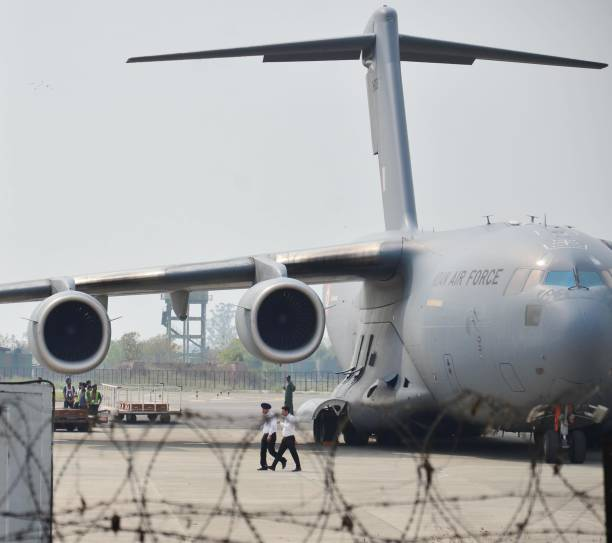 Special Air Force aircraft that throw which mortal remains brought back from Iraq to at Sri Guru Ram Dass Jee International Airport on April 2 2018...