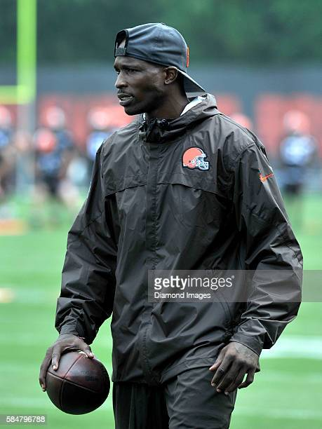 Special assistant coach Chad Johnson of the Cleveland Browns walks downfield during a training camp on July 29 2016 at the Cleveland Browns training...
