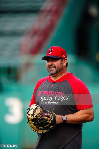 Special assistant Jason Jason Varitek looks on before the game between the Boston Red Sox and the New York Yankees at Fenway Park on September 08...