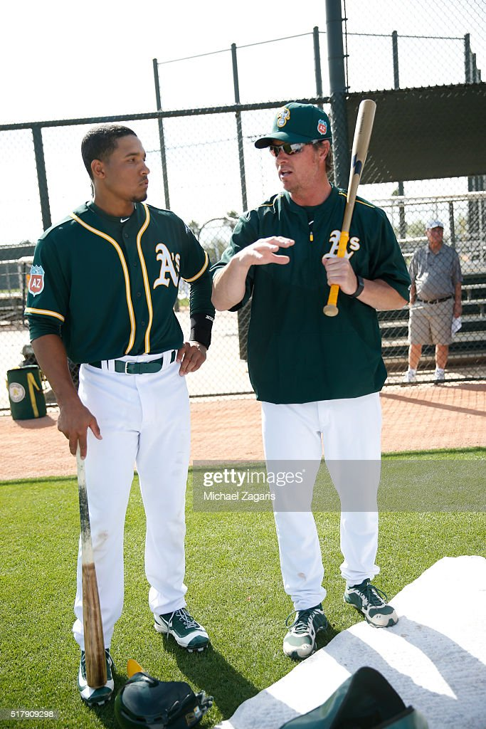 Special Assistant To Baseball Operations Scott Hatteberg Of The Oakland Athletics Talks With Richie Martin