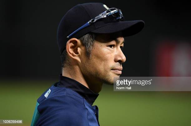 Special assistant to the Chairman Ichiro Suzuki of the Seattle Mariners participates in batting practice prior to a game against the Arizona...