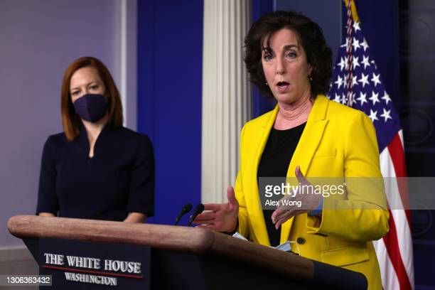 Special Assistant to the President & Coordinator for the Southern Border Ambassador Roberta Jacobson speaks as White House Press Secretary Jen Psaki...