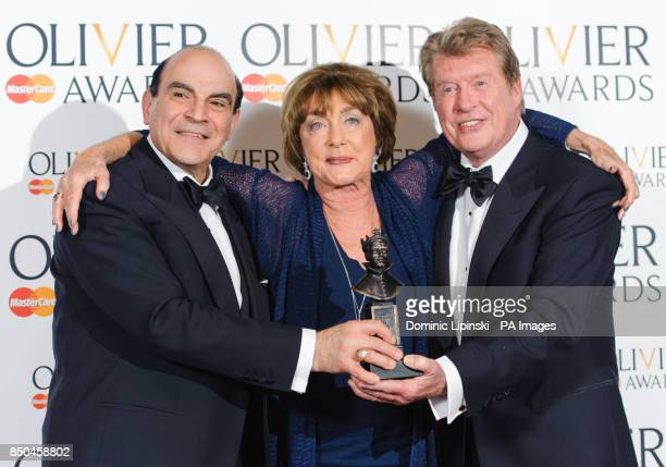 Special Award winner Gillian Lynne with award presenters David Suchet and Michael Crawford in the press room at the Olivier Awards 2013 at the Royal...