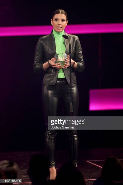 'Special' award winner Teresa Enke of the RobertEnkeFund speaks on stage at the 1Live Krone radio award at Jahrhunderthalle on December 05 2019 in...