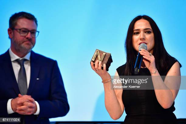 'Special' Award Winner Turkish journalist Banu Gueven speaks on stage at the Nannen Award 2017 on April 27 2017 in Hamburg Germany
