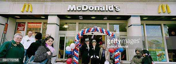 A special balloon arch in the colours of the Union Jack at the entrance to the Windsor branch of McDonalds on the day of the civil wedding of Prince...