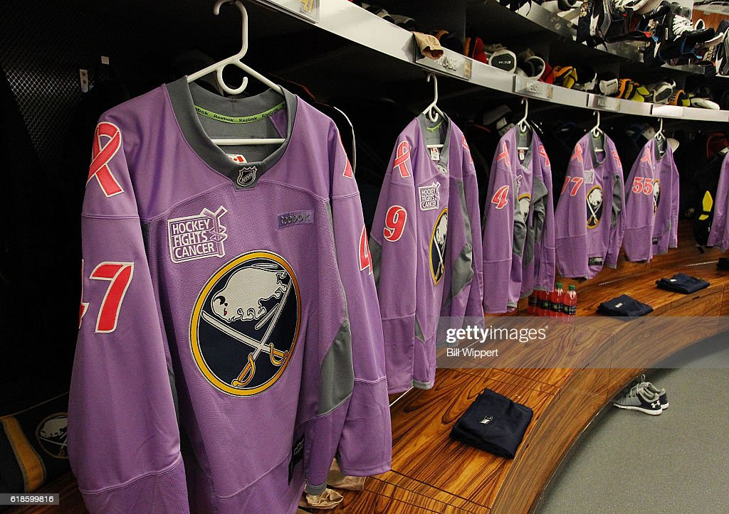 new arrival eb294 1e9eb Special Buffalo Sabres Hockey Fights Cancer warmup jerseys ...
