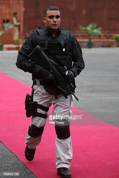SPG special commando guard stand during 66th Independence Day function at Red Fort in New Delhi on Wednesday
