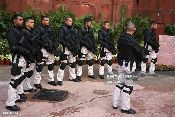 SPG special commando guards stand during 66th Independence Day function at Red Fort in New Delhi on Wednesday