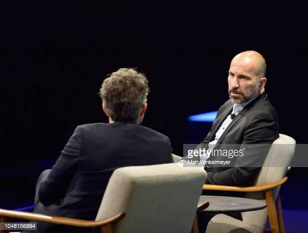 Special correspondent at Vanity Fair Nick Bilton and CEO of Uber Dara Khosrowshahi speak onstage at Day 1 of the Vanity Fair New Establishment Summit...