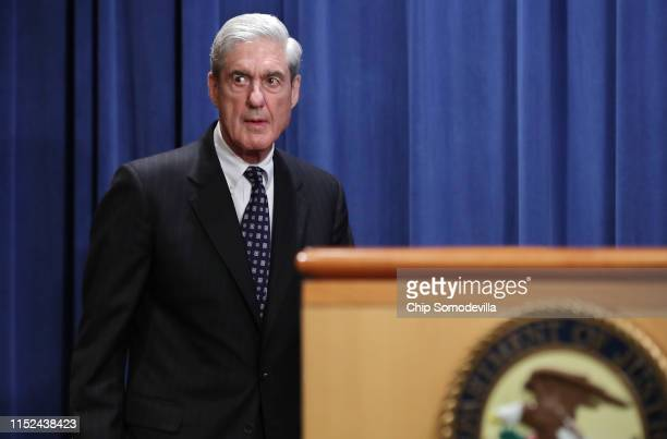 Special Counsel Robert Mueller arrives to make a statement about the Russia investigation on May 29, 2019 at the Justice Department in Washington,...