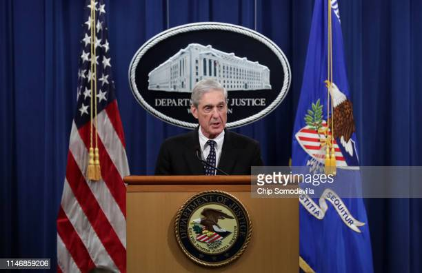 Special Counsel Robert Mueller makes a statement about the Russia investigation on May 29 2019 at the Justice Department in Washington DC