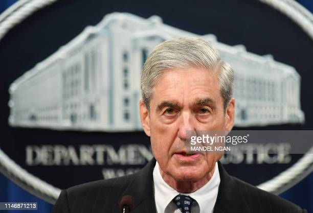 Special Counsel Robert Mueller speaks on the investigation into Russian interference in the 2016 Presidential election, at the US Justice Department...