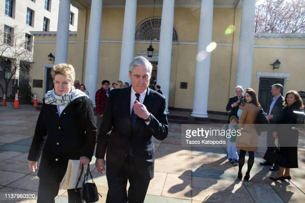 Special counsel Robert Mueller walks with his wife Ann Mueller on March 24, 2019 in Washington, DC. Special counsel Robert Mueller has delivered his...
