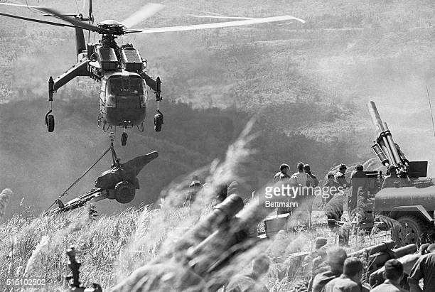 Special Delivery Dong Ha South Vietnam A helicopter drops another howitzer for a contingent of the US 3rd Marine Division that is occupying a high...