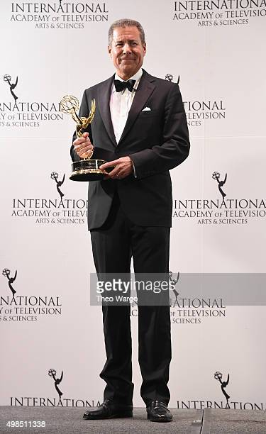 Special Directorate Award Recipient Chairman CEO Home Box Office Richard Plepler poses with his award during the 43rd International Emmy Awards at...
