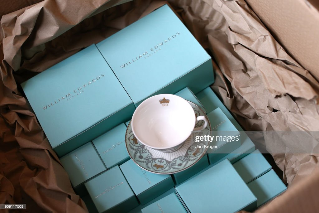Special edition crockery is packaged and shipped ahead of the wedding of Prince Harry and Meghan Markle at William Edwards Home Ltd on May 16, 2018 in Stoke on Trent, England. Crafted in the Potteries, William Edwards Home Ltd has created a limited edition collection of fine bone china embellished with both platinum and 22 carat gold to celebrate the Royal marriage of HRH Prince Harry and Meghan Markle.