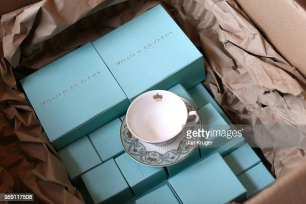 Special edition crockery is packaged and shipped ahead of the wedding of Prince Harry and Meghan Markle at William Edwards Home Ltd on May 16 2018 in...